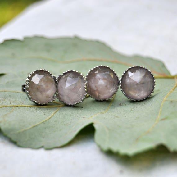 Rose Cut Rose Quartz and Resin Stud Earrings
