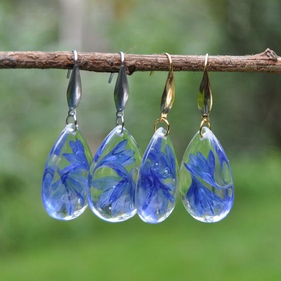 Dangle Teardrop Earrings - Cornflower & Resin
