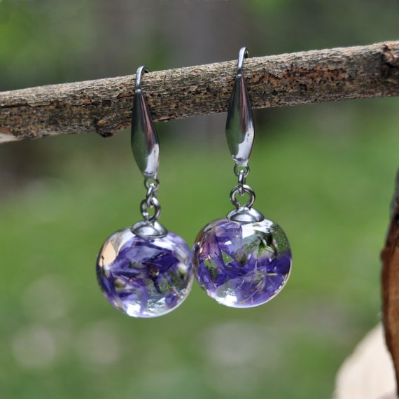 Mini Sphere Dangle Earrings - Purple Hebe Flower & Eco Resin