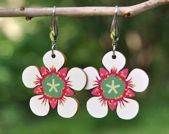 Flower Statement Earrings • White Wildflower Earrings • Wooden Stud or Hook Dangle Earrings • Lightweight Earrings • Christmas Gift for Her