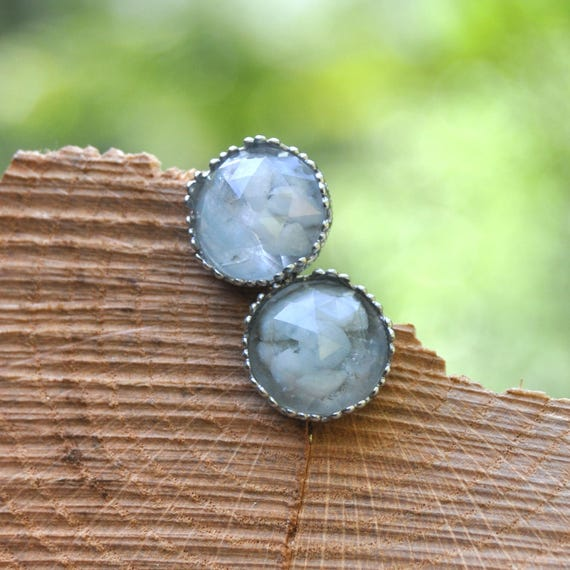 Rose Cut Aquamarine and Resin Stud Earrings