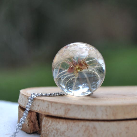 Australian Flower Resin Sphere Necklace - Clematis Seed - 25 mm