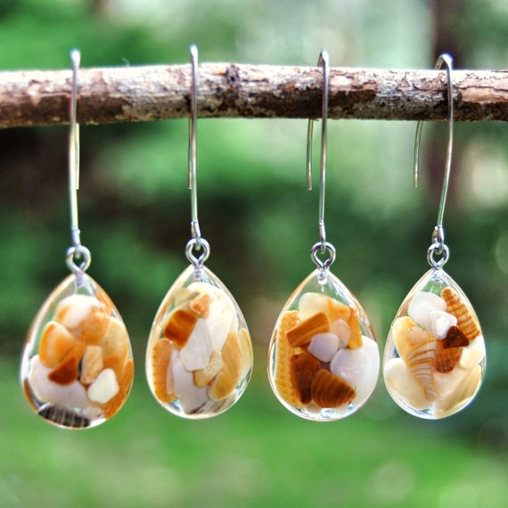 Dangle Teardrop Earrings - Sea Shell & Resin