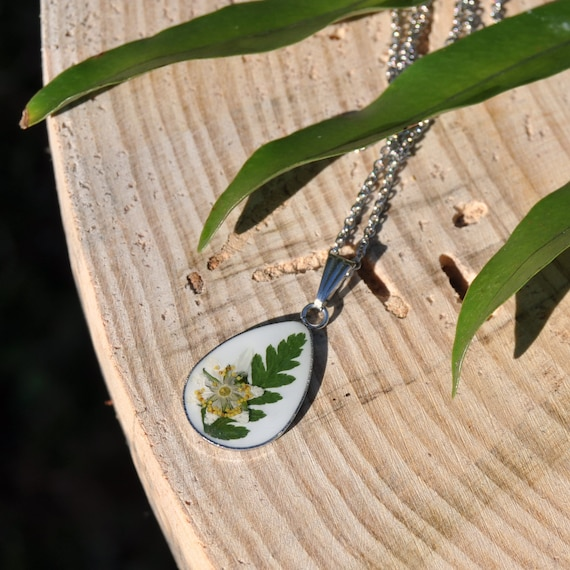 Real Fern and Dog Rose Drop Necklace