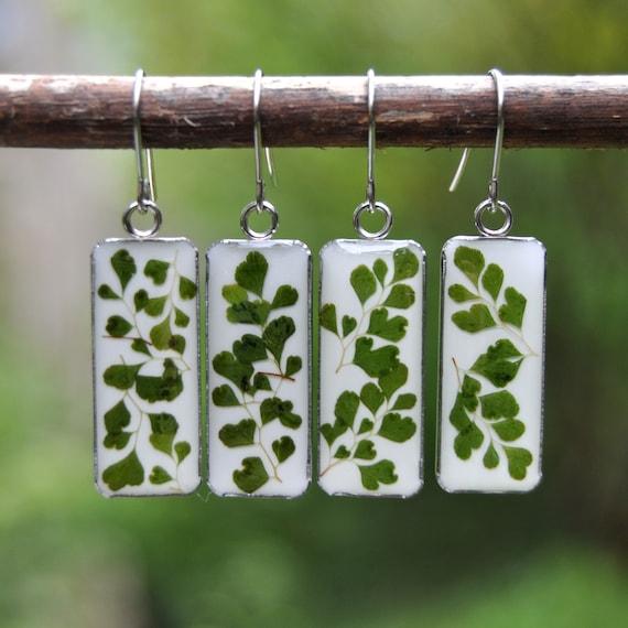 Dangle Earrings - Maidenhair Fern & Resin