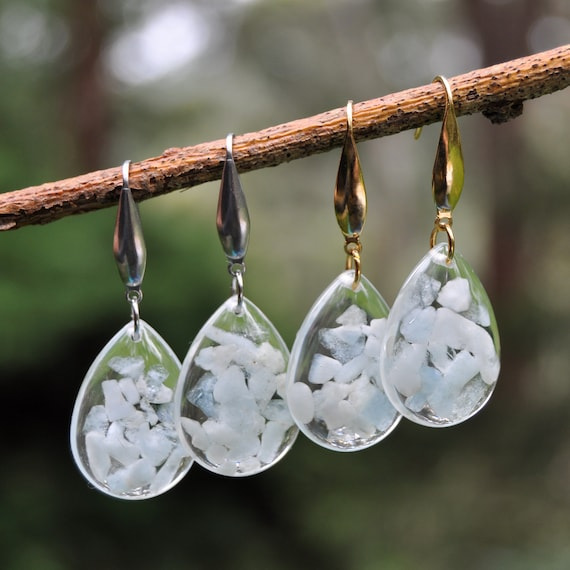 Dangle Teardrop Earrings - Aquamarine Stones & Resin