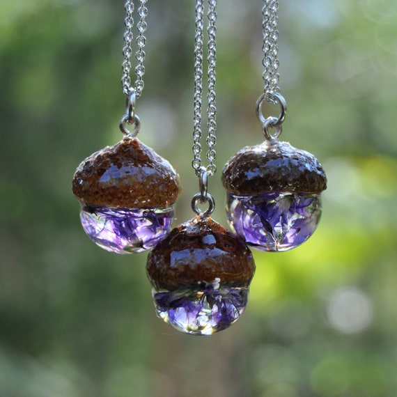 Acorn Resin Necklace - Purple Hebe Flowers