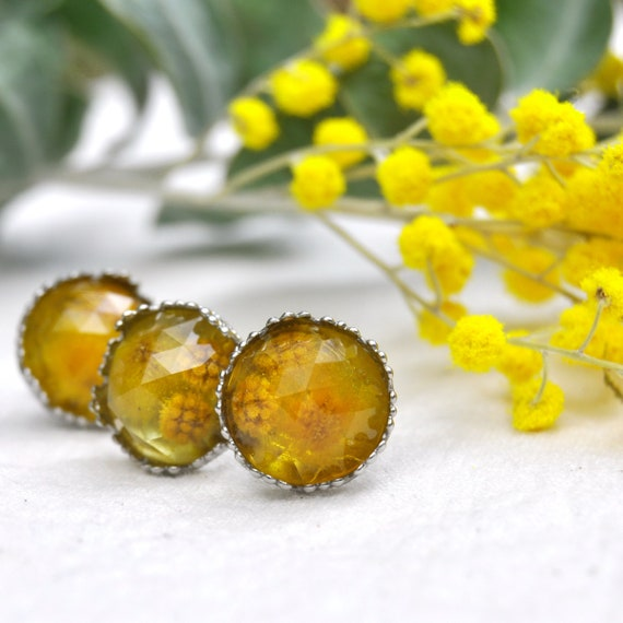 Rose Cut Golden Wattle and Resin Stud Earrings