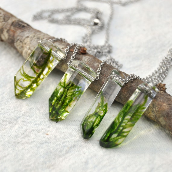 Moss Crystal Terrarium Necklace