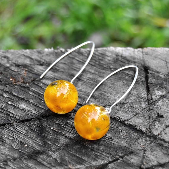 Mini Sphere Long Dangle Earrings - Mt Morgan Wattle & Eco Resin - Sterling Silver