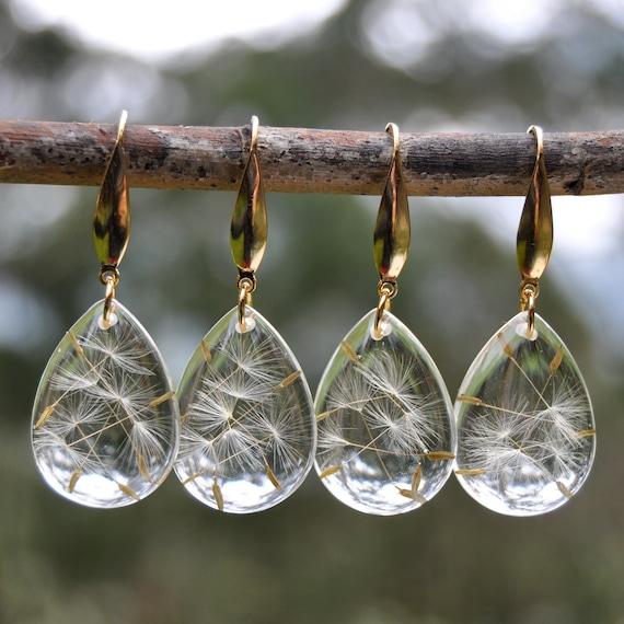 Dangle Teardrop Earrings - Dandelion Seed & Resin