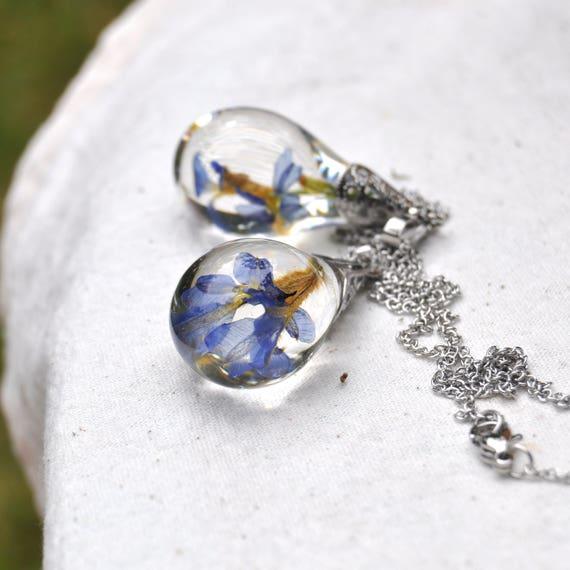 Australian Flower Resin Drop Necklace - Blue Dampiera