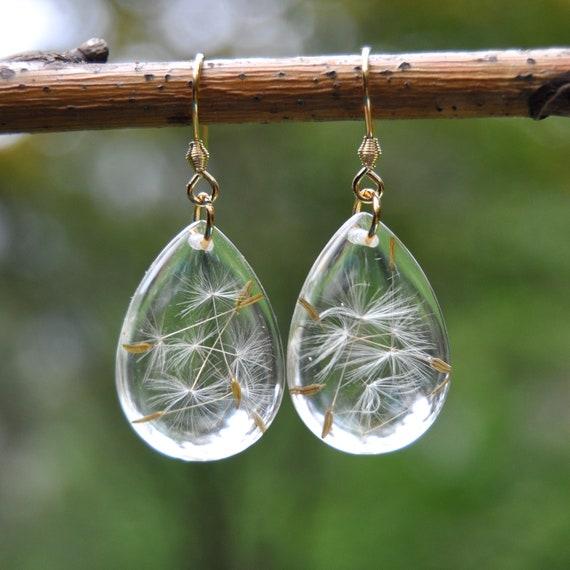 Dangle Teardrop Earrings in Gold - Dandelion Seed & Resin
