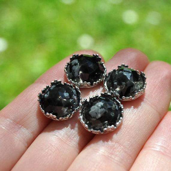 Rose Cut Obsidian and Resin Crown Stud Earrings