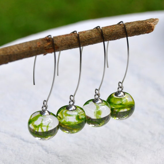 Mini Sphere Long Dangle Earrings - Moss & Eco Resin