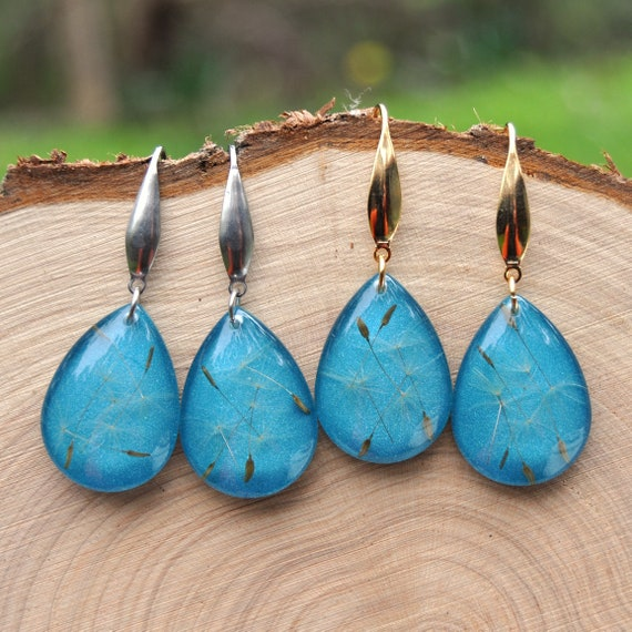 Dangle Teardrop Earrings - Dandelion Seeds in Teal