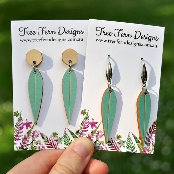 Green Eucalyptus Leaf Dangle Earrings