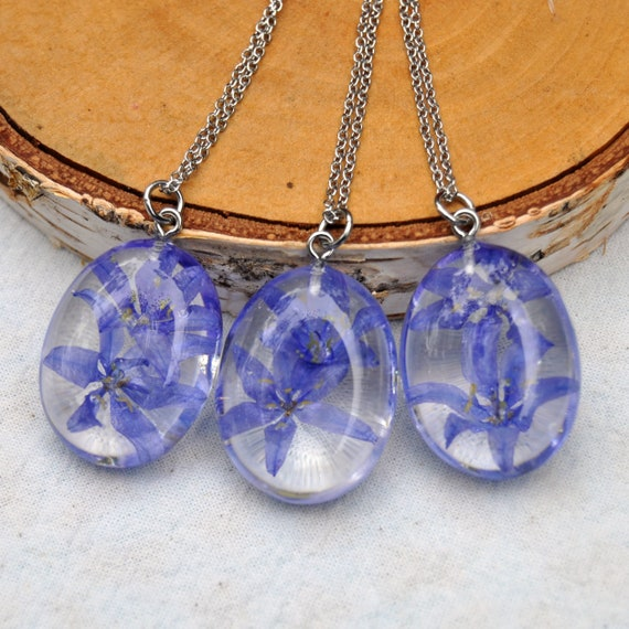 Bluebell Resin Pebble Necklace - Oval