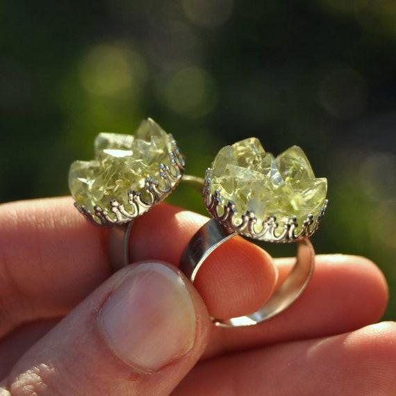 Lichen Druzy Ring