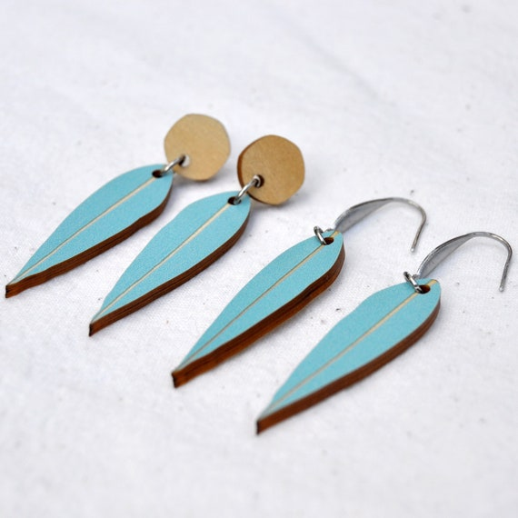 Blue Eucalyptus Leaf Dangle Earrings