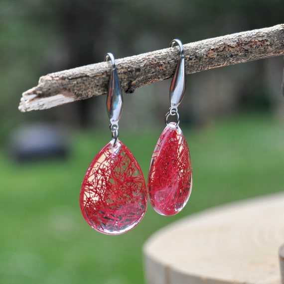 Dangle Teardrop Earrings - Red Flowering Gum & Resin
