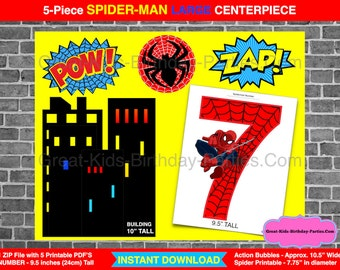Spiderman printable number 5 centerpiece instant download. | etsy.