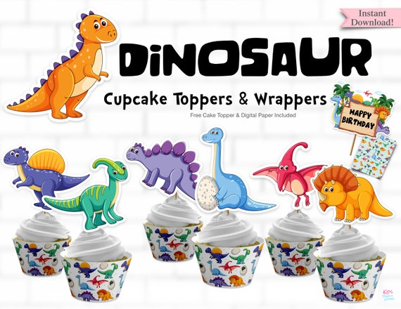 photograph regarding Free Printable Thomas the Train Cup Cake Toppers identify Dinosaur Cupcake Toppers, Dinosaur Birthday Social gathering, Printable