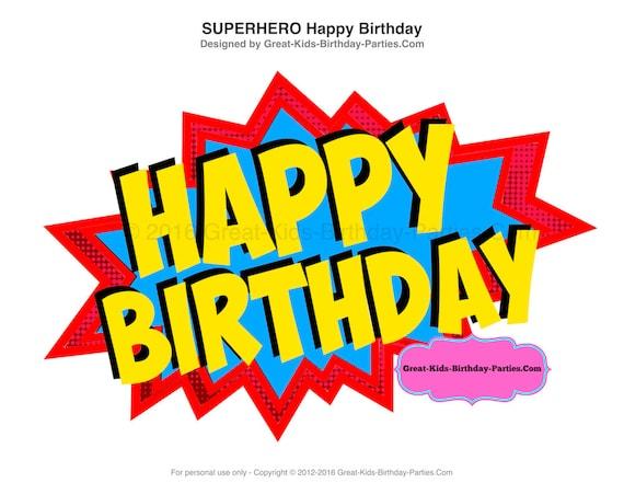 superhero happy birthday sign superhero printables superhero etsy