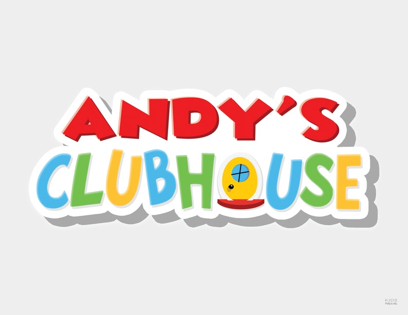 Clubhouse Name  Cartoon Birthday Party Sign  Clubhouse image 0