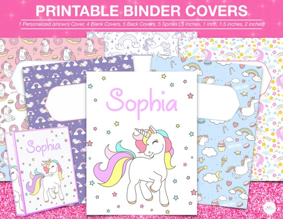 graphic about Printable Binder Covers for School named Printable BINDER Addresses-Unicorn Topic Established of 6 Little ones Higher education