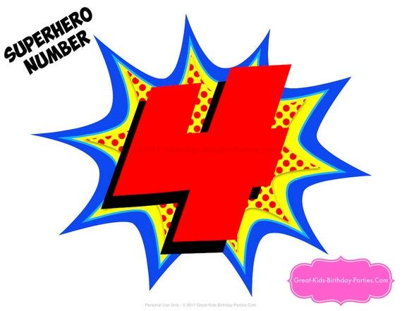 superheroe decoraciones superhéroe numero 4 superhéroe etsy