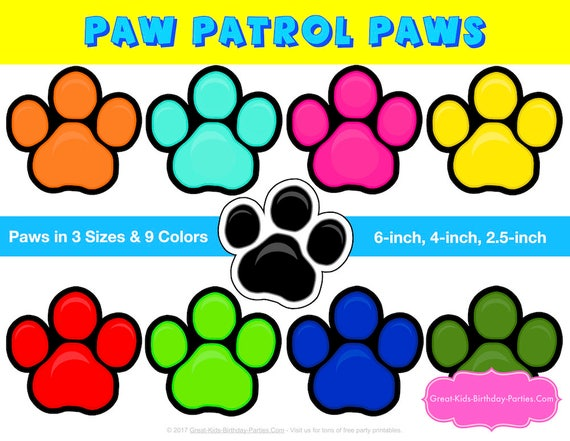 image about Paw Patrol Printable Decorations titled PAW PATROL Printable PAW Print - Paw Patrol Birthday - Paw Patrol Bash - Paw Patrol Decorations - Picture Booth Props - Paw Patrol Game titles
