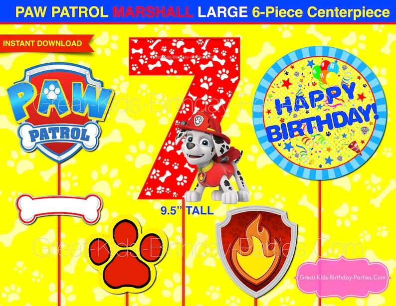 PAW PATROL Birthday CENTERPIECE Number 7 Marshall Paw