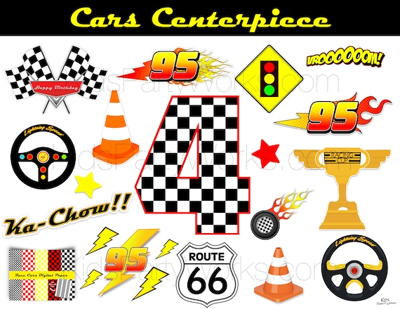 CARS Birthday Centerpiece, Disney Cars Centerpiece, Cars Themed Birthday,  Birthday Party Printables, Lightning McQueen, Cars Number 4 By Kids Party  Works Catch My Party
