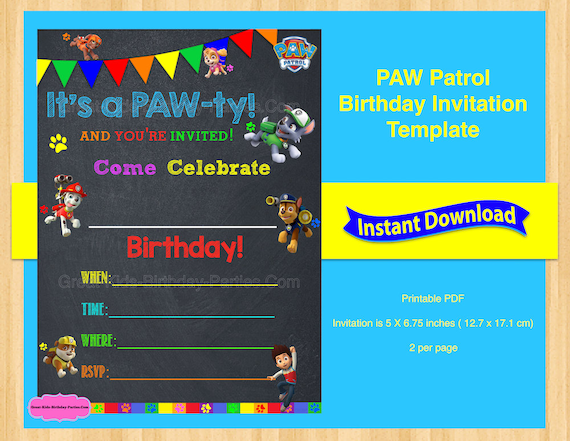 Paw Patrol Invitation Template By Kids Party Works Catch