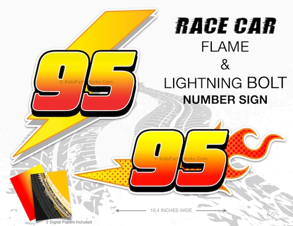 Cars Number 95 Lightning Mcqueen Disney Cars Party Race Car Etsy