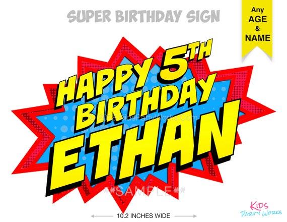 Super Heros Joyeux Anniversaire Signe Danniversaire Super Etsy