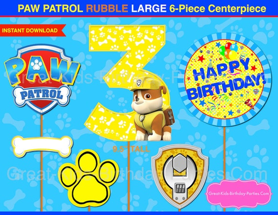 photograph about Paw Patrol Printable Decorations known as PAW PATROL CENTERPIECE Variety 3 Rubble. Paw Patrol Printable Centerpiece. Paw Patrol Occasion Decorations.Paw Patrol Picture Booth Props