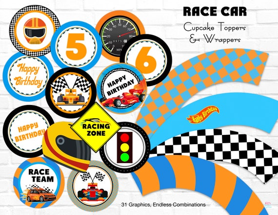 image regarding Printable Racing Cars known as Race Motor vehicle Cupcake Toppers Wrappers, Incredibly hot Wheels Birthday