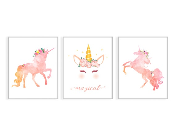 Unicorn Print-Unicorn Wall Art-Printable Wall Art-Watercolor Unicorn-Nursery  Prints-Nursery Unicorn Decor-Unicorn Printable-Unicorn Poster By Kids Party  Works Catch My Party