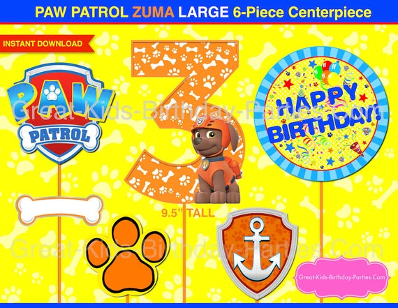 graphic relating to Paw Patrol Printable Decorations named PAW PATROL CENTERPIECE Variety 3 Zuma - Paw Patrol Printable Centerpiece - Paw Patrol Occasion Decorations - Paw Patrol Birthday - Quantity 3