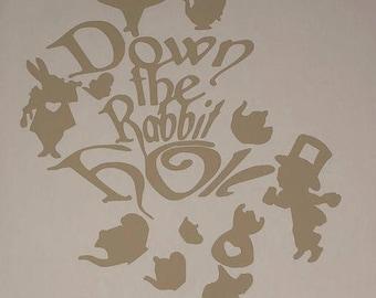 Alice in Wonderland - Down the Rabbit hole Decal / Sticker