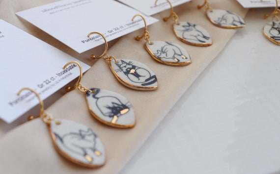 Cats  porcelain dangle earrings