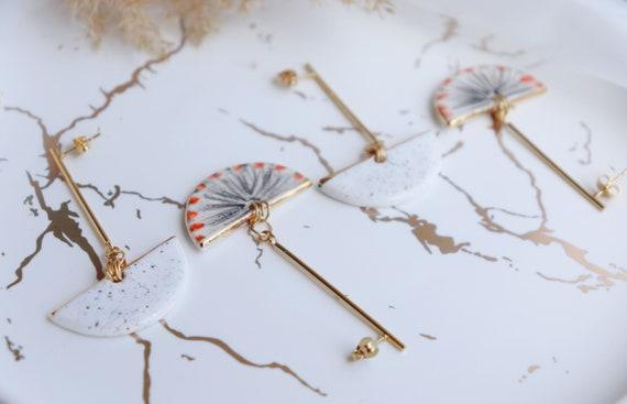 Fan shaped long bar  dangle earrings