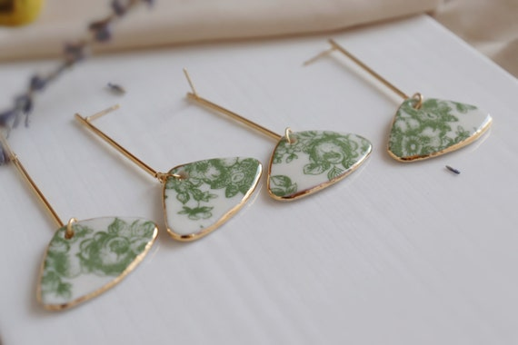 long bar green peony floral porcelain dangle earrings