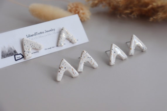 Triangle white porcelain button studs