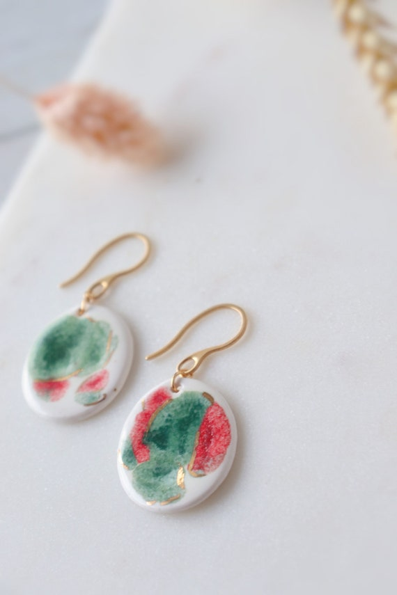 Watermelon colour patterned porcelain  Dangle Earrings