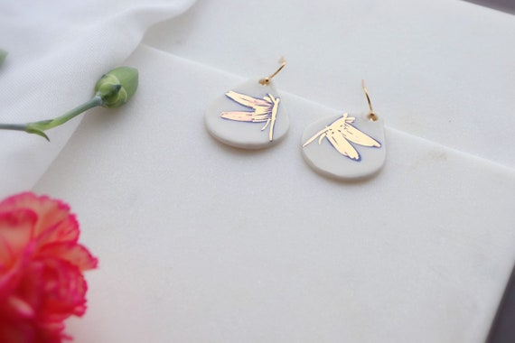 Dragon fly porcelain Earrings, Statement Jewelry, dangle and tear Drop Earrings, Gift for her