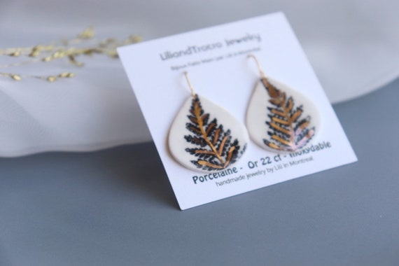Cedar leave Dangle porcelain Earrings, Statement Jewelry, dangle and tear Drop Earrings, Gift for her