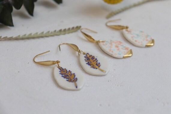 Small cedar/ speckles  porcelain dangle earrings